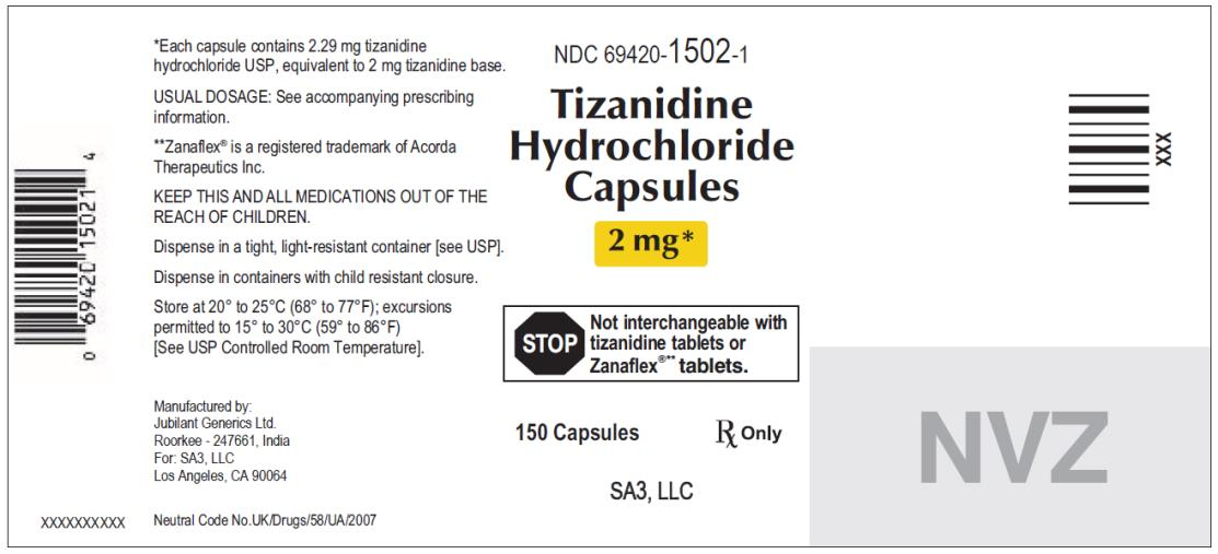 PRINCIPAL DISPLAY PANEL NDC 69420-1502-1 Tizanidine Hydrochloride Capsules 2 mg 150 capsules Rx Only