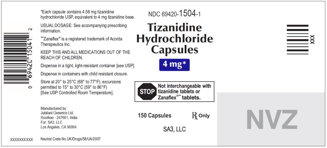 PRINCIPAL DISPLAY PANEL NDC 69420-1504-1 Tizanidine Hydrochloride Capsules 4 mg 150 capsules Rx Only
