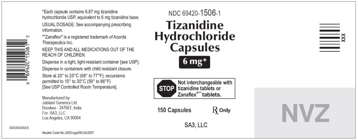 PRINCIPAL DISPLAY PANEL NDC 69420-1506-1 Tizanidine Hydrochloride Capsules 6 mg 150 capsules Rx Only