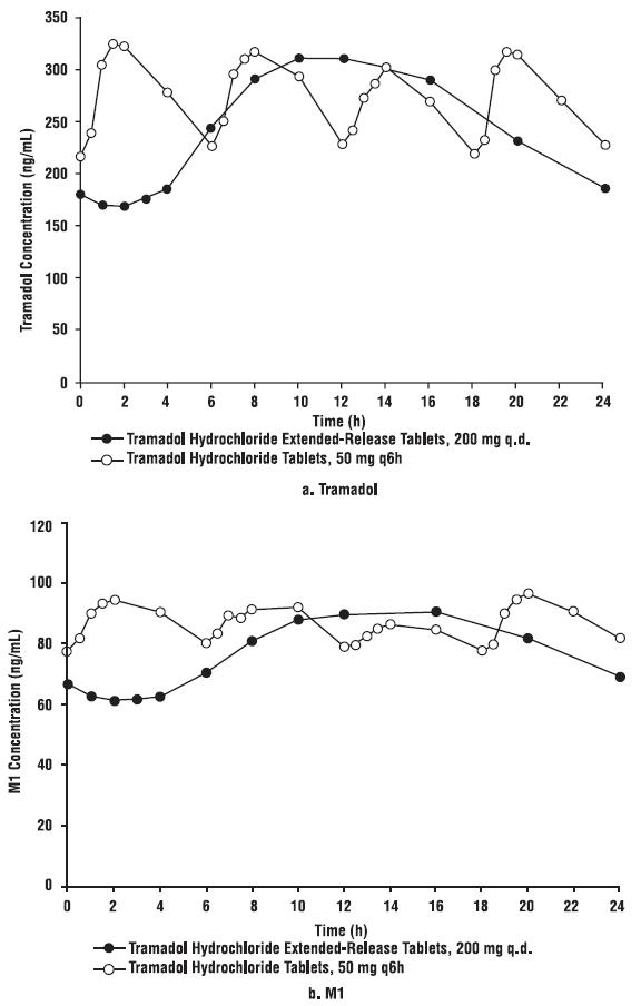 Figure 2: Mean Steady-State Tramadol (a) and M1 (b) Plasma Concentrations on Day 8 Post Dose after Administration of 200 mg Tramadol Hydrochloride Extended-Release Tablets Once-Daily and 50 mg Tramadol Hydrochloride Tablets Every 6 Hours.