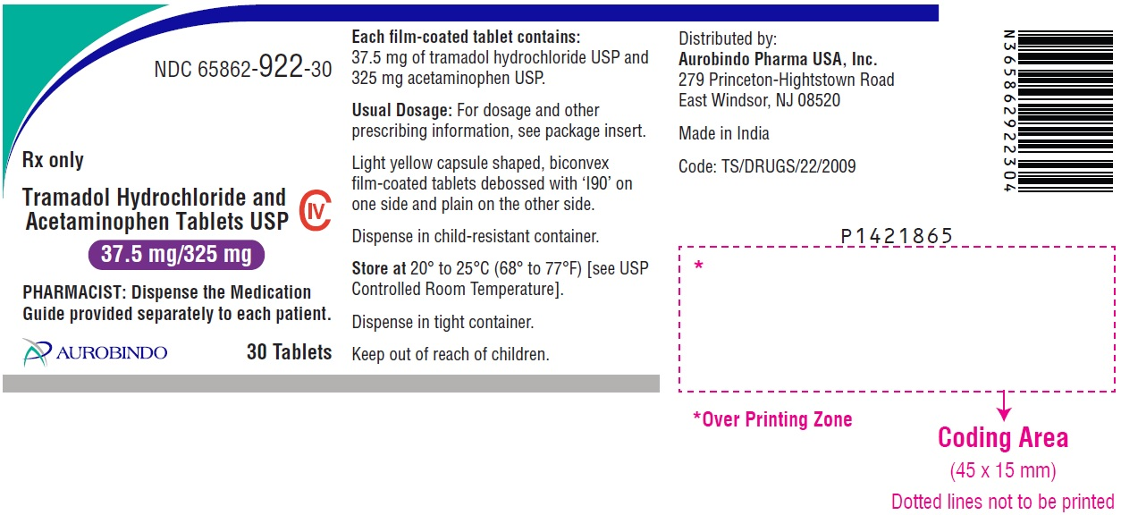 PACKAGE LABEL.PRINCIPAL DISPLAY PANEL - 37.5 mg/325 mg (30 Tablets Bottle)