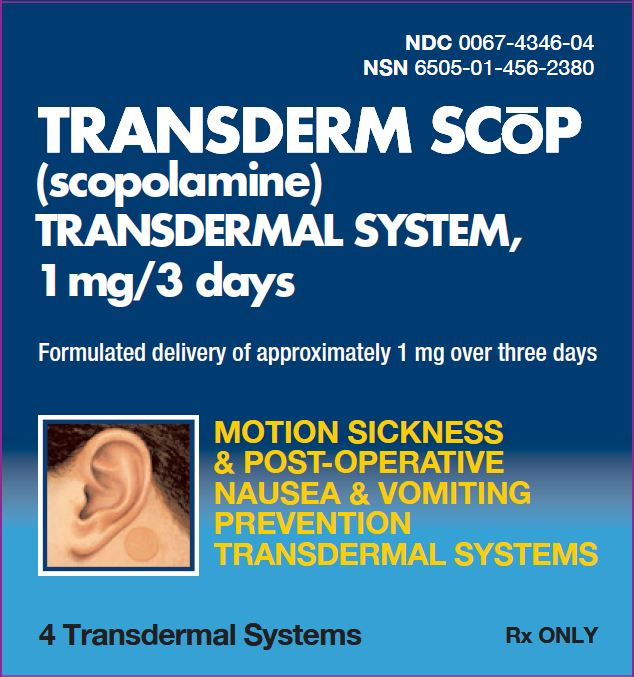 Transderm Scop (scopolamine) Transdermal System 1 mg/3 days 4 Transdermal Systems label