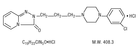 This is an image of the structural formula of trazodone hydrochloride.