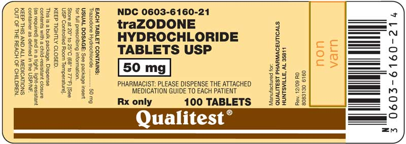 This is an image of the label for 50 mg Trazodone Hydrochloride Tablets.