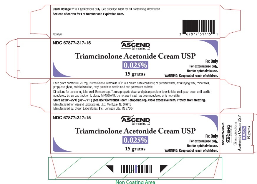 Triamcinolone Acetonide Cream USP 0.025% 15 gm tube