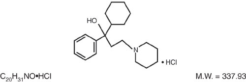 This is an image of the structural formula for Trihexyphenidyl HC.