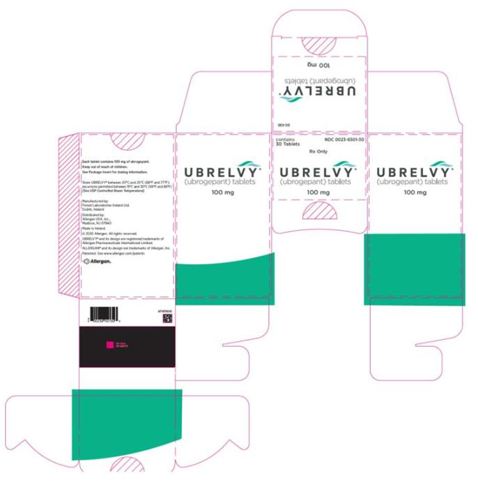 NDC 0023-6501-10 Ubrelvy (ubrogepant) tablets 100 mg Rx only contains 10 Tablets