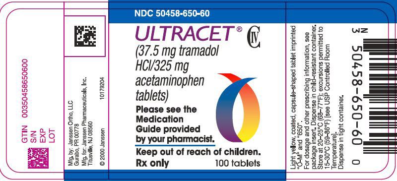 PRINCIPAL DISPLAY PANEL - 37.5 mg/325 mg Tablet Bottle Label