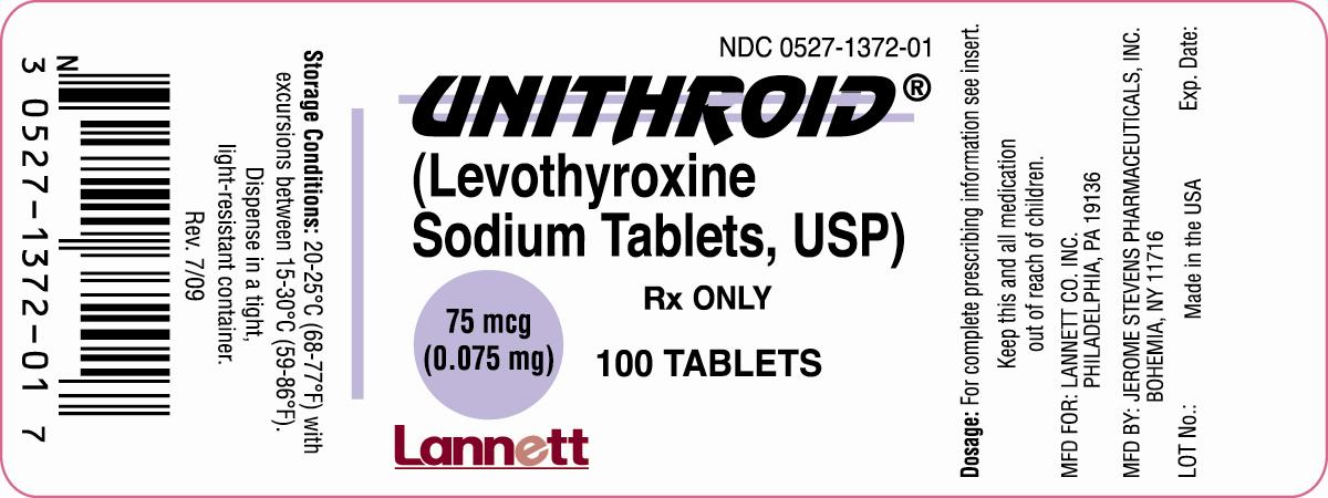 Unithroid Levothyroxine Sodium Tablets Usp