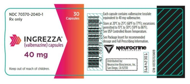 PRINCIPAL DISPLAY PANEL NDC 70370-1040-1 INGREZZA (valbenazine) capsules 40 mg 30 Capsules Rx Only