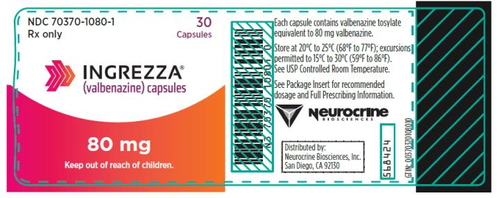 PRINCIPAL DISPLAY PANEL NDC 70370-1080-1 INGREZZA (valbenazine) capsules 80 mg 30 Capsules Rx Only