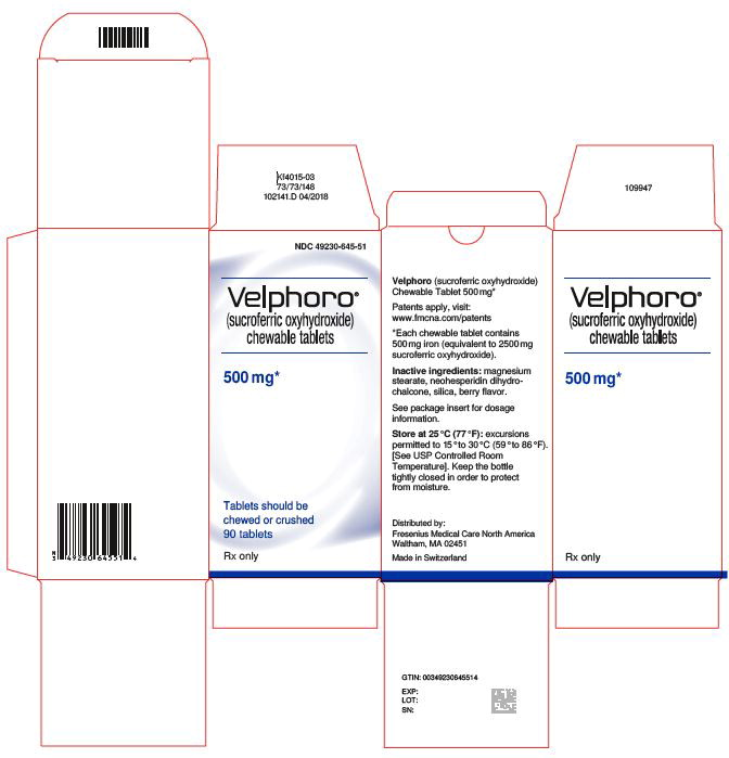 Principal Display Label - Bottle Carton - NDC 49230-645-51
