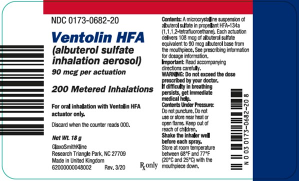 Ventolin HFA 200 dose label