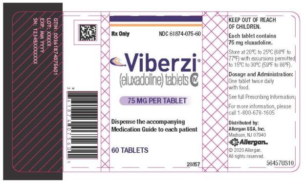 PRINCIPAL DISPLAY PANEL NDC 61874-075-60 Viberzi (eluxadoline) tablets 75 MG PER TABLET 60 TABLETS Rx Only
