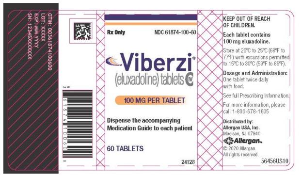 PRINCIPAL DISPLAY PANEL NDC 61874-100-60 Viberzi (eluxadoline) tablets 100 MG PER TABLET 60 TABLETS Rx Only