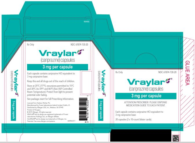 PRINCIPAL DISPLAY PANEL NDC 61874-130-20 Vraylar (cariprazine) Capsules 3 mg per capsule 20 capsules (2x10-count blister cards) Rx Only