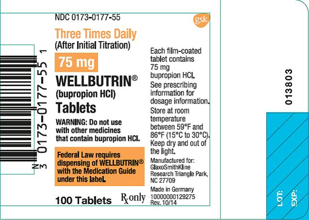 Wellbutrin 75mg 100 count label