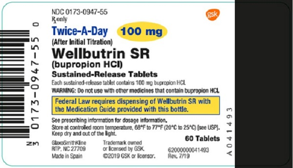 Wellbutrin SR 100 mg 60 count label