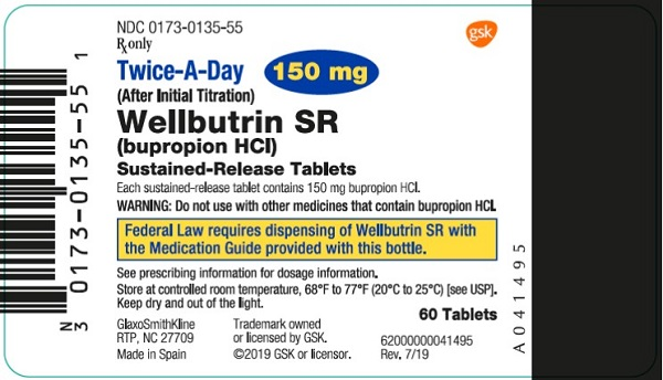 Wellbutrin SR 150 mg 60 count label