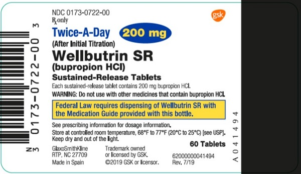 Wellbutrin SR 200 mg 60 count label