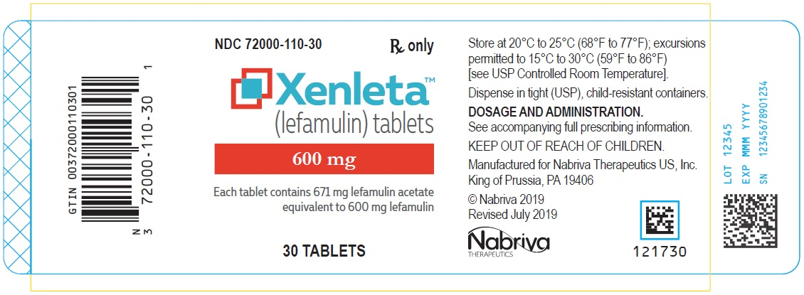 Rx Item-XENLETA- lefamulin acetate 600mg 30 Tablet  by Nabriva Therapeutics