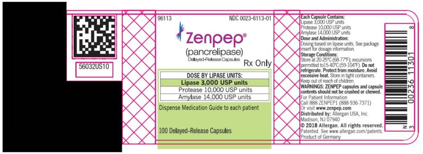 PRINCIPAL DISPLAY PANEL NDC 0023-6113-01 ZENPEP®  (Pancrelipase)  Delayed-Release Capsules Lipase 3,000 USP units Protease 10,000 USP units Amylase 14,000 USP units 100 Delayed-Release Capsules Rx Only