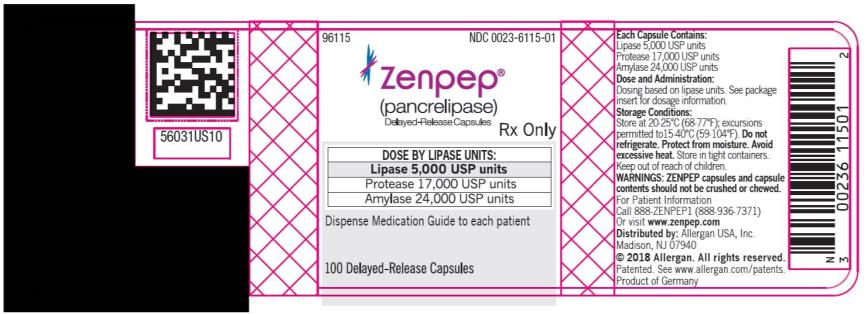 PRINCIPAL DISPLAY PANEL NDC 0023-6115-01 ZENPEP®  (Pancrelipase) Delayed-Release Capsules Lipase 5,000 USP units Protease 17,000 USP units Amylase 24,000 USP units 100 Delayed-Release Capsules Rx Only
