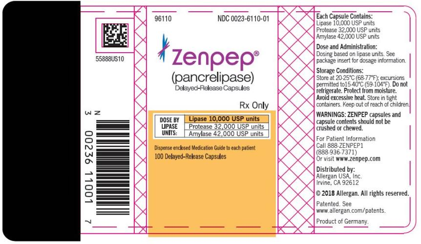 PRINCIPAL DISPLAY PANEL NDC 0023-6110-01 ZENPEP®  (Pancrelipase) Delayed-Release Capsules Lipase 10,000 USP units Protease 32,000 USP units Amylase 42,000 USP units 100 Delayed-Release Capsules Rx Only