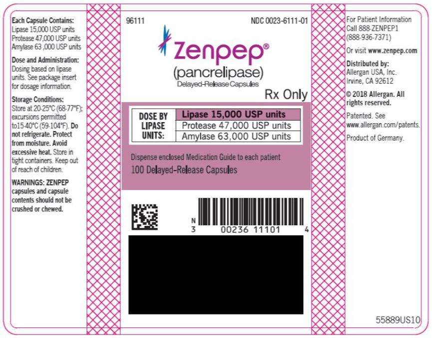 PRINCIPAL DISPLAY PANEL NDC 0023-6111-01 ZENPEP®  (Pancrelipase) Delayed-Release Capsules Lipase 15,000 USP units Protease 47,000 USP units Amylase 63,000 USP units 100 Delayed-Release Capsules Rx Only