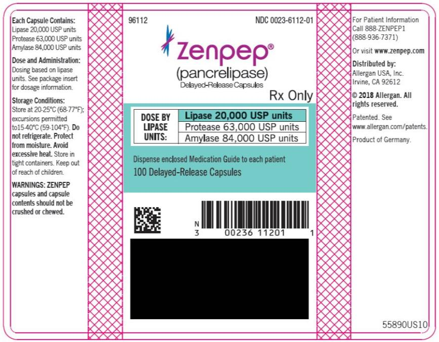 PRINCIPAL DISPLAY PANEL NDC 0023-6112-01 ZENPEP®  (Pancrelipase) Delayed-Release Capsules Lipase 20,000 USP units Protease 63,000 USP units Amylase 84,000 USP units 100 Delayed-Release Capsules Rx Only