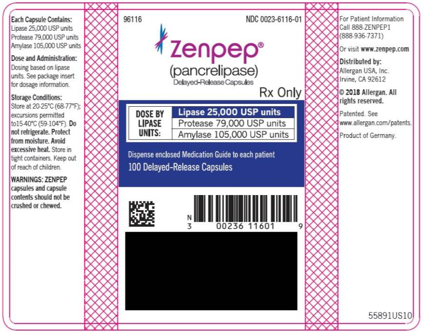 PRINCIPAL DISPLAY PANEL NDC 0023-6116-01 ZENPEP®  (Pancrelipase) Delayed-Release Capsules Lipase 25,000 USP units Protease 79,000 USP units Amylase 105,000 USP units 100 Delayed-Release Capsules Rx Only