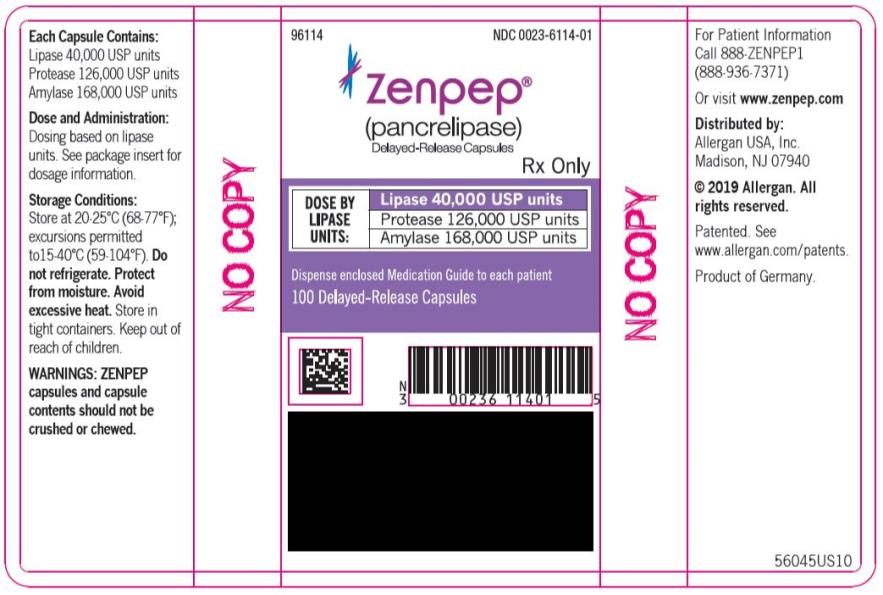 PRINCIPAL DISPLAY PANEL NDC 0023-6114-01 ZENPEP®  (Pancrelipase) Delayed-Release Capsules Lipase 40,000 USP units Protease 126,000 USP units Amylase 168,000 USP units 100 Delayed-Release Capsules Rx Only