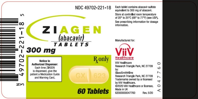 Ziagen 300 mg tablets 60 count label