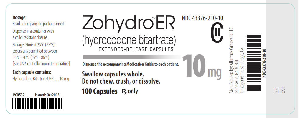 NDC 43376-210-10 CII Zohydro ER (hydrocodone bitartrate) Extended-Release Capsules 10 mg 100 Capsules Rx Only