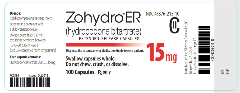 NDC 43376-215-10 CII Zohydro ER (hydrocodone bitartrate) Extended-Release Capsules 15 mg 100 Capsules Rx Only
