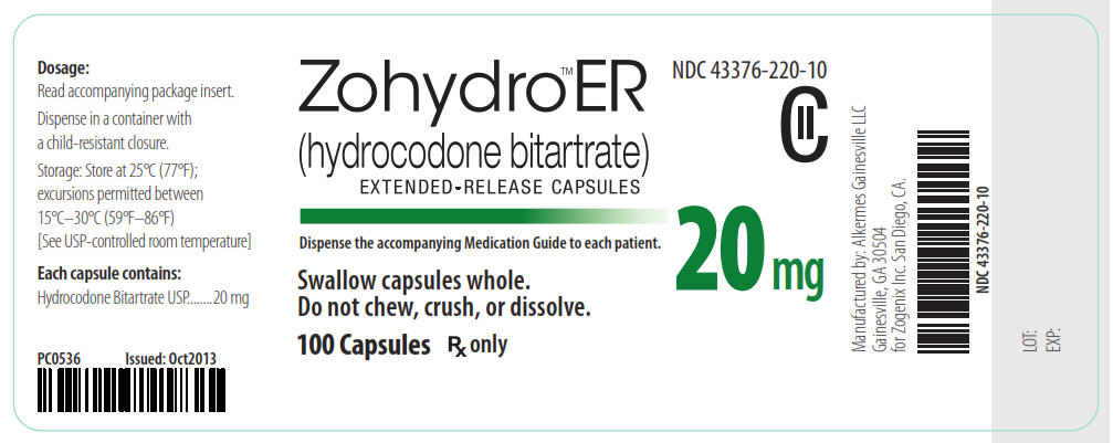 NDC 43376-220-10 CII Zohydro ER (hydrocodone bitartrate) Extended-Release Capsules 20 mg 100 Capsules Rx Only