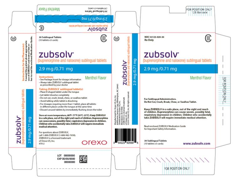 PRINCIPAL DISPLAY PANEL NDC 54123-986-30 Rx Only  CIII zubsolv®  (buprenorphine and naloxone) sublingual tablets 8.6 mg/2.1 mg  Menthol Flavor For Sublingual Administration. Do Not Cut, Crush, Break, Chew, or Swallow Tablet.  Keep ZUBSOLV in a safe place, out of the sight and reach of children. Buprenorphine can cause severe, possibly fatal, respiratory depression in children. Children who accidentally take ZUBSOLV will require immediate medical attention.  Read enclosed ZUBSOLV Medication Guide for Important Safety Information. 30 Sublingual Tablets  (10 tablets x3 cards) www.zubsolv.com