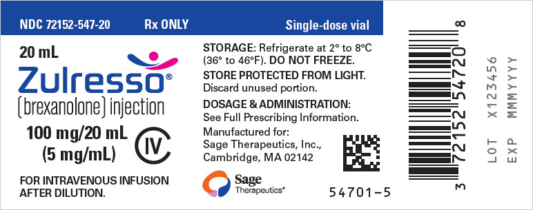 Rx Item-ZULRESSO - brexanolone injection, solution 100MG/20ML 20ML BY SAGE THERA