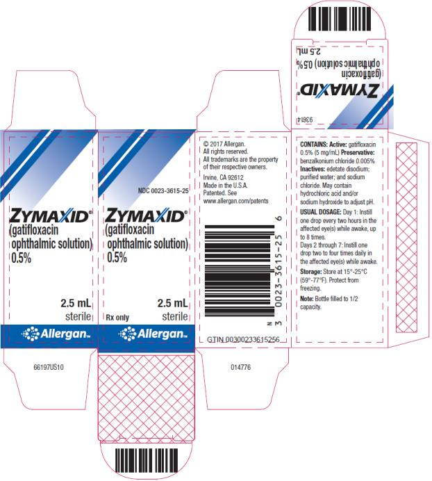 PRINCIPAL DISPLAY PANEL NDC 0023-3615-25 ZYMAXID (gatifloxacin ophthalmic solution) 0.5% 2.5 mL  Rx Only     Sterile