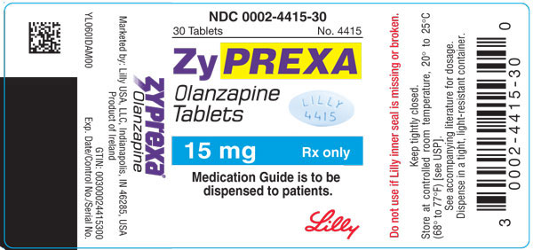 PACKAGE LABEL - ZYPREXA 15 mg tablet, bottle of 30