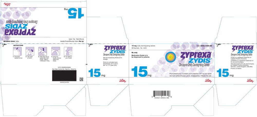 PACKAGE LABEL - ZYPREXA ZYDIS 15 mg tablet, 30 sachets
