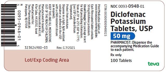 Round Orange 93 948 Images Diclofenac Potassium Diclofenac Potassium Ndc 0093 0948 05