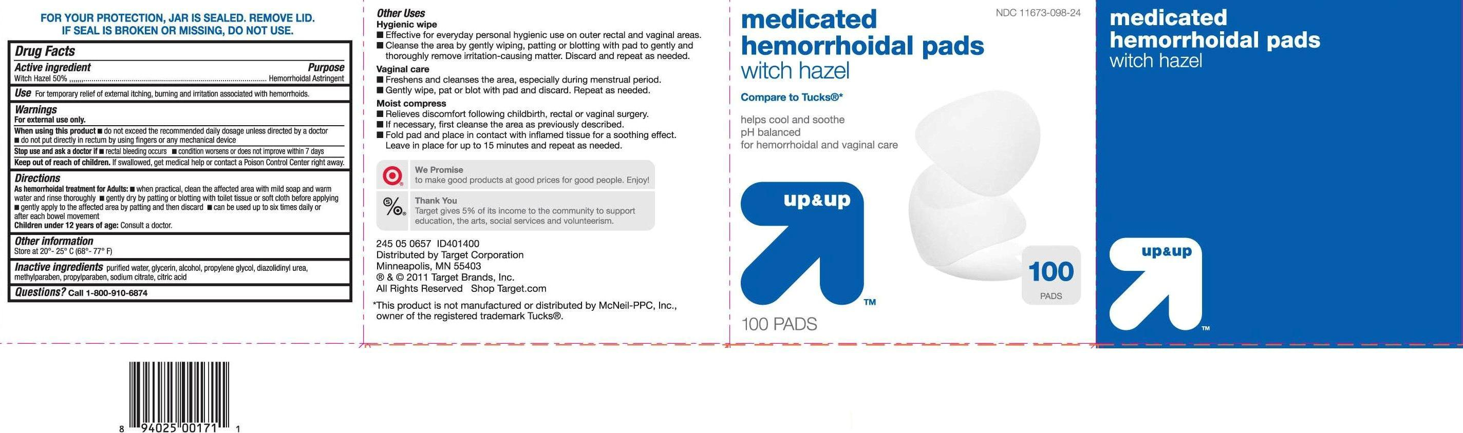 Up And Up Medicated Hemorrhoidal Pads Information, Side Effects