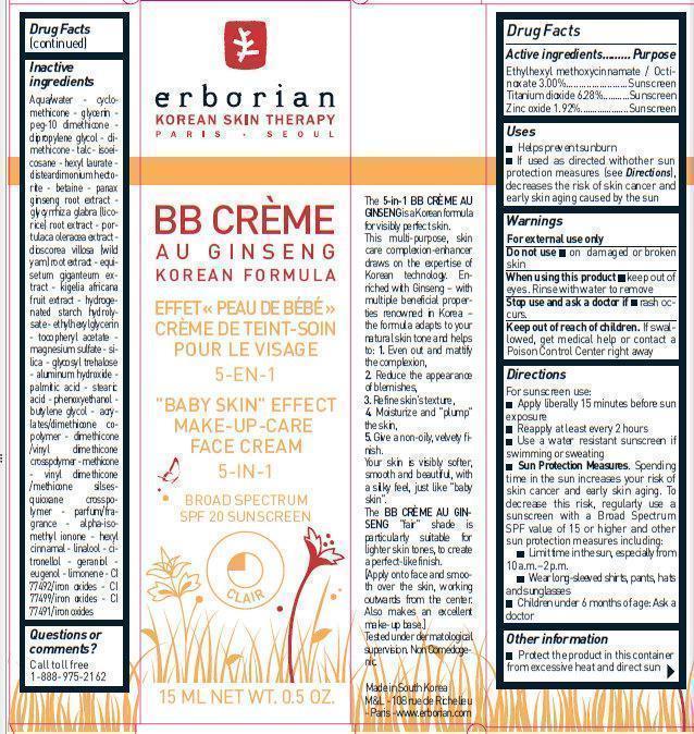 DailyMed - ERBORIAN - BB CREME AU GINSENG CARAMEL SPF20