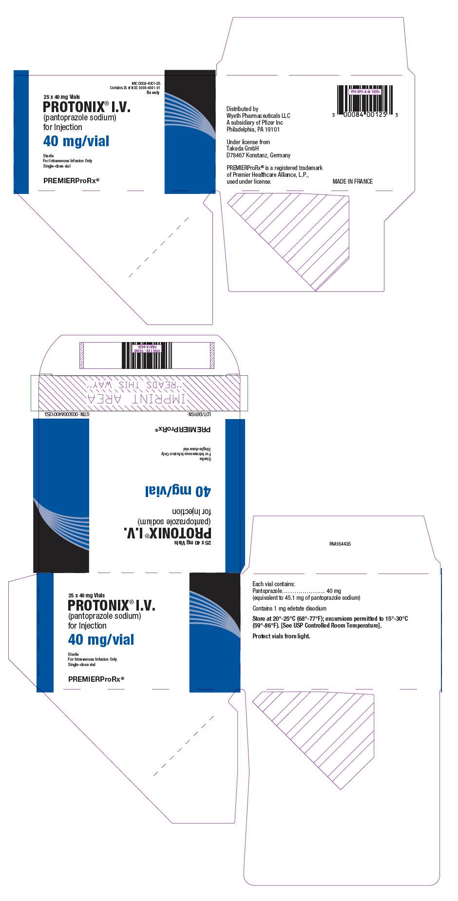 Wizmed Drug Label for Wyeth Pharmaceuticals LLC, a subsidiary of Pfizer  - PANTOPRAZOLE SODIUM NDC number 0008-4001-10, 0008-4001-25