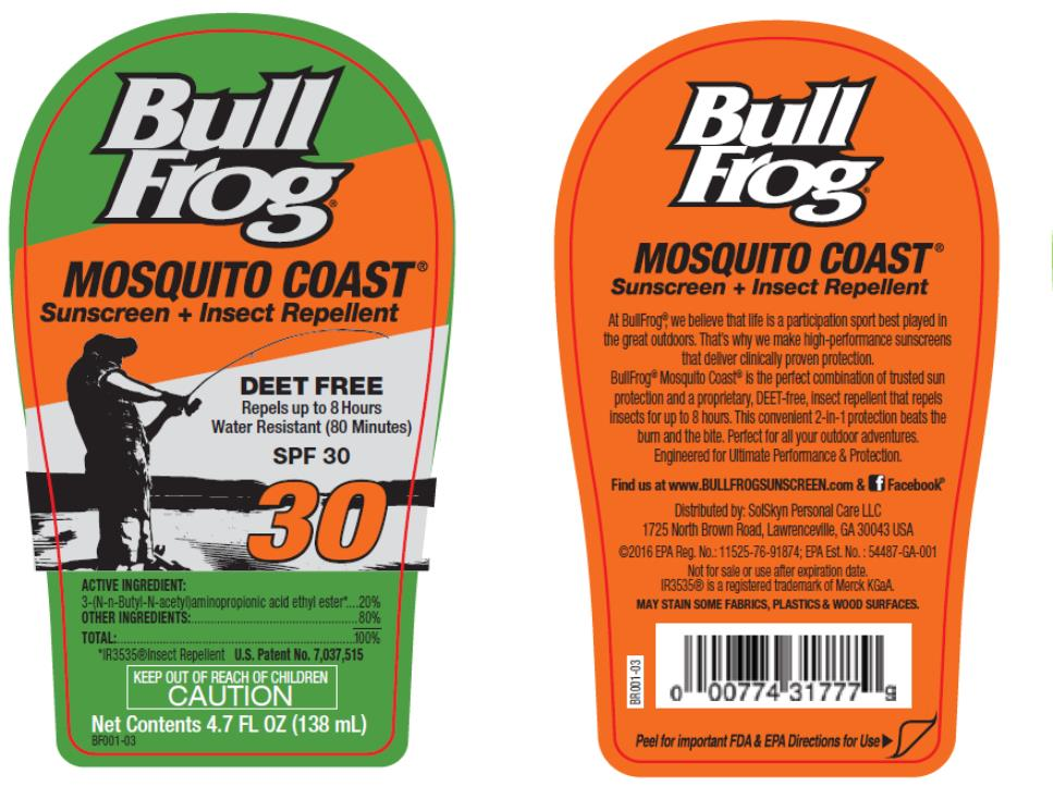 DailyMed - BULLFROG DEET FREE MOSQUITO COAST SUNSCREEN WITH INSECT ...