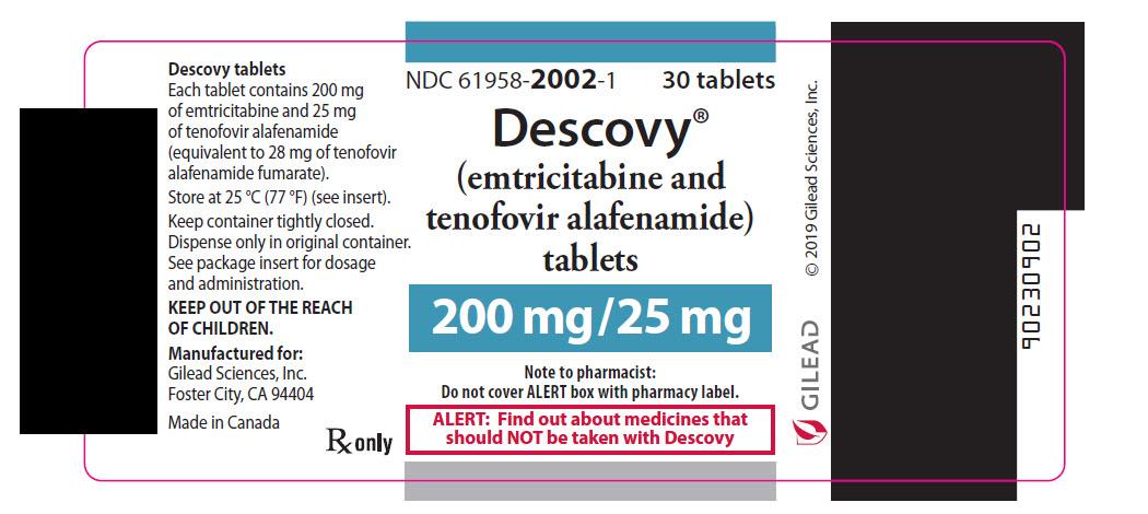 Rx Item-Descovy 200/25 (emtricitabine and tenofovir alafenamide) 30 Tablets by G
