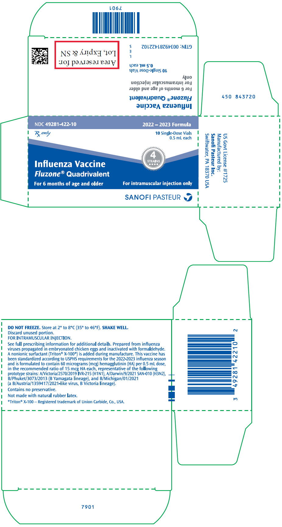 RX ITEM-FLUZONE QUAD SF 10X0.5ML 2019-20  By Sanofi Pasteur
