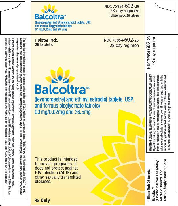 Generic Name:LEVONORGEST/ETH.ESTRADIOL/IRON Description:BALCOLTRA TB 0.1-0.02-36.5MG 3X28 NDC:75854-0602-0375854-602-03 75854060203 7585460203  UPC:375854-602039
