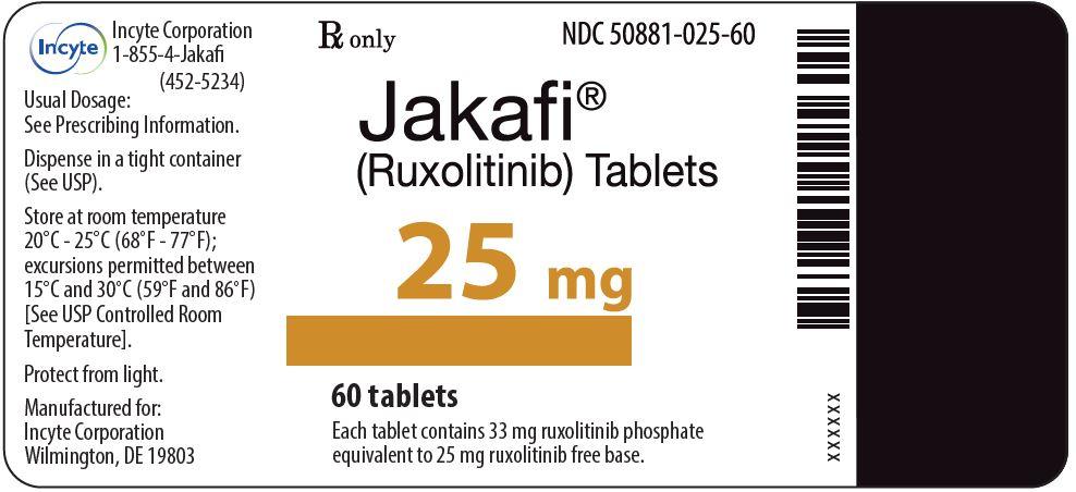 Rx Item-Jakafi 25mg Tablets 1X60 Each By yte Pharma